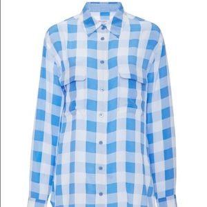 Equipment silk slim signature blue checkered shirt